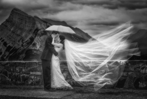 Banff Photographer, Burnett Photography, Bride & Groom at Mt. Norquay Road