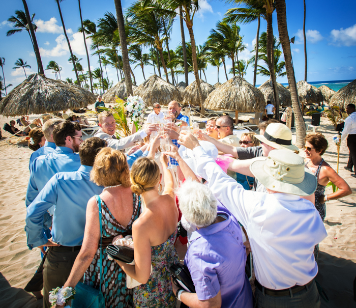 Tropical wedding toast, Punta Cana