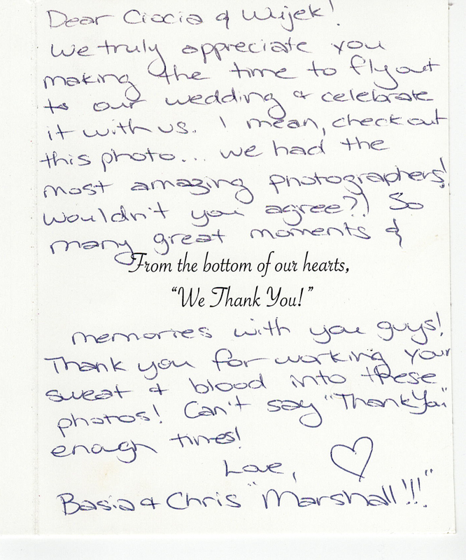 Beach wedding thank you note text