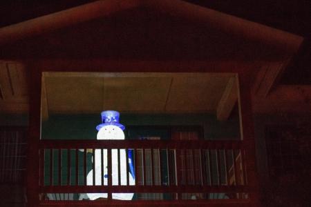 snowman at night, Lake Louise wedding, Lake Louise wedding photographers, Burnett Photography, Banff wedding photographer