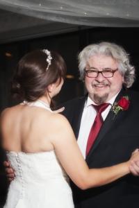 Bride and dad dancing, Lake Louise wedding, Lake Louise wedding photographers, Burnett Photography, Banff wedding photographer