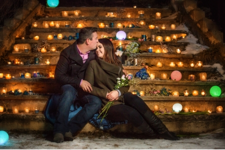 Proposal in Banff at Bankhead stair ruins, Andrew & Erin