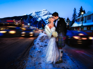 newlyweds, banff wedding, banff wedding photographers