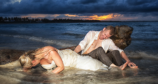 Basia & Chris letting it all out the next day in a trash the Dress Session!