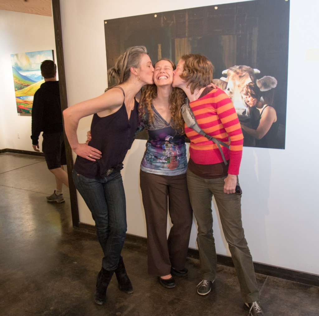 "Chrissy Nickerson, Shirleen Burnett & Pascale Ouellet at Elevation Gallery opeining of ""Artist—Art—Artist."""