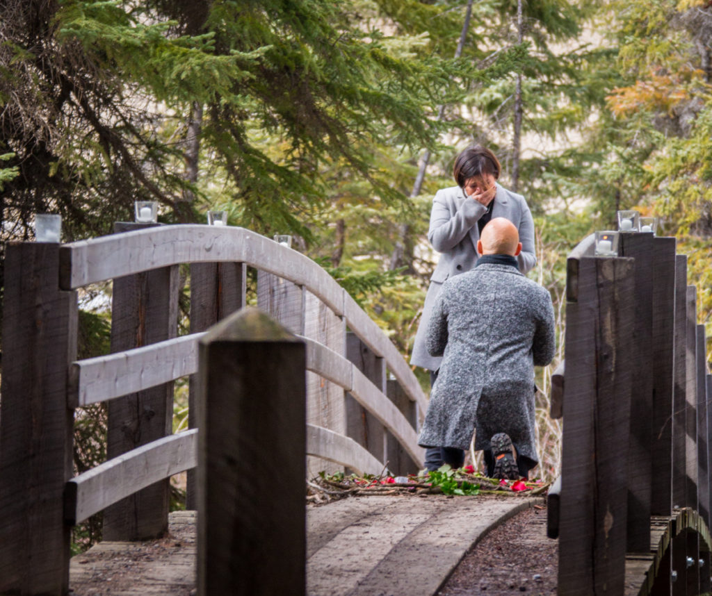 Creative outdoor proposal, Banff National Park, Banff photographers, Burnett Photography