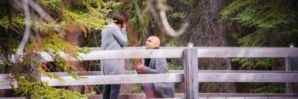 Romantic Marriage Proposal in Banff National Park, Banff photographers, Burnett Photography