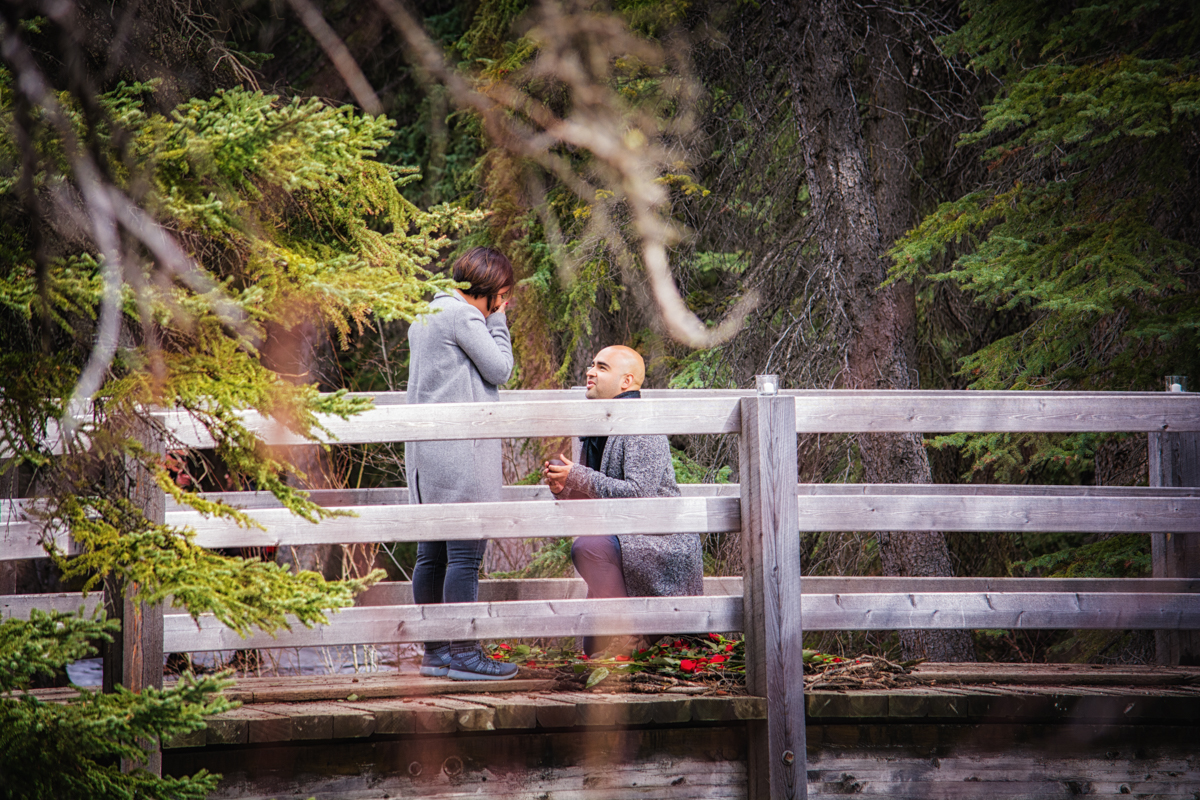 Romantic Marriage Proposal in Banff National Park, Banff photographers, Burnett Photography