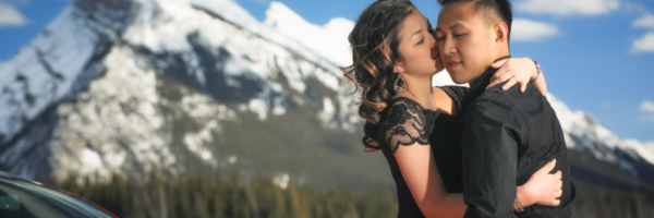 Engagement Photo shoot at Vermillan Lake in Banff with Banff photographers, Troy & Shirleen Burnett, Burnett Photography.