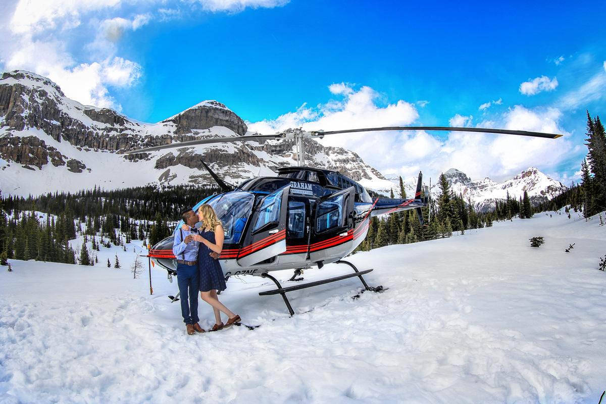 Helicopter Proposal on Mt. Marvel,  Banff wedding photographers, Burnett Photography