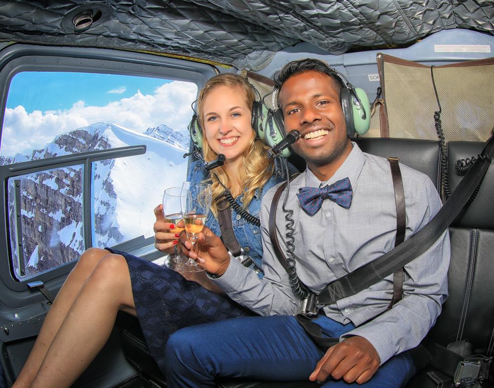 Helicopter Proposal on Mt. Marvel, Newly engaged couple, Banff wedding photographers, Burnett Photography