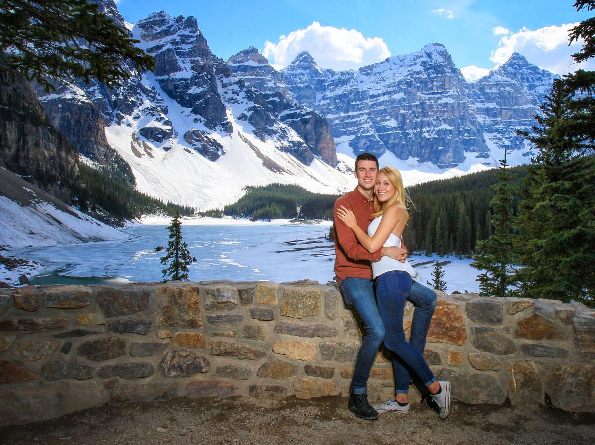 Newly engaged couple, Moraine Lake, Lake Louise, Banff wedding photographers, Burnett Photography