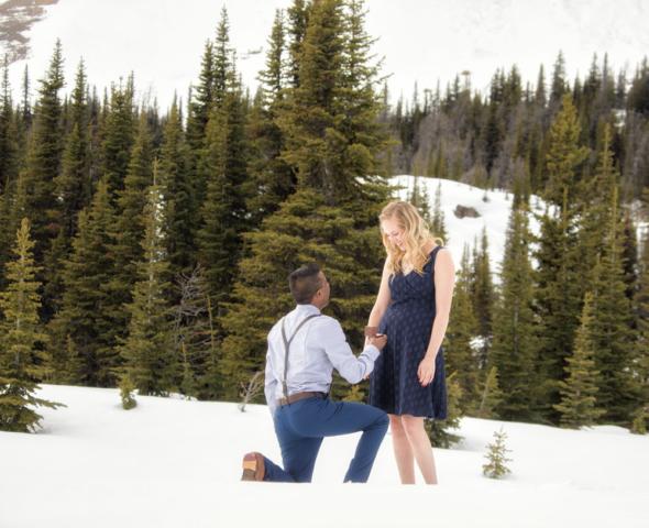 Mountain top wedding proposal with banff wedding photographers, Burnett Photography