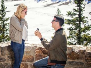 Moraine Lake wedding proposal by Banff wedding photographers, Burnett Photography.