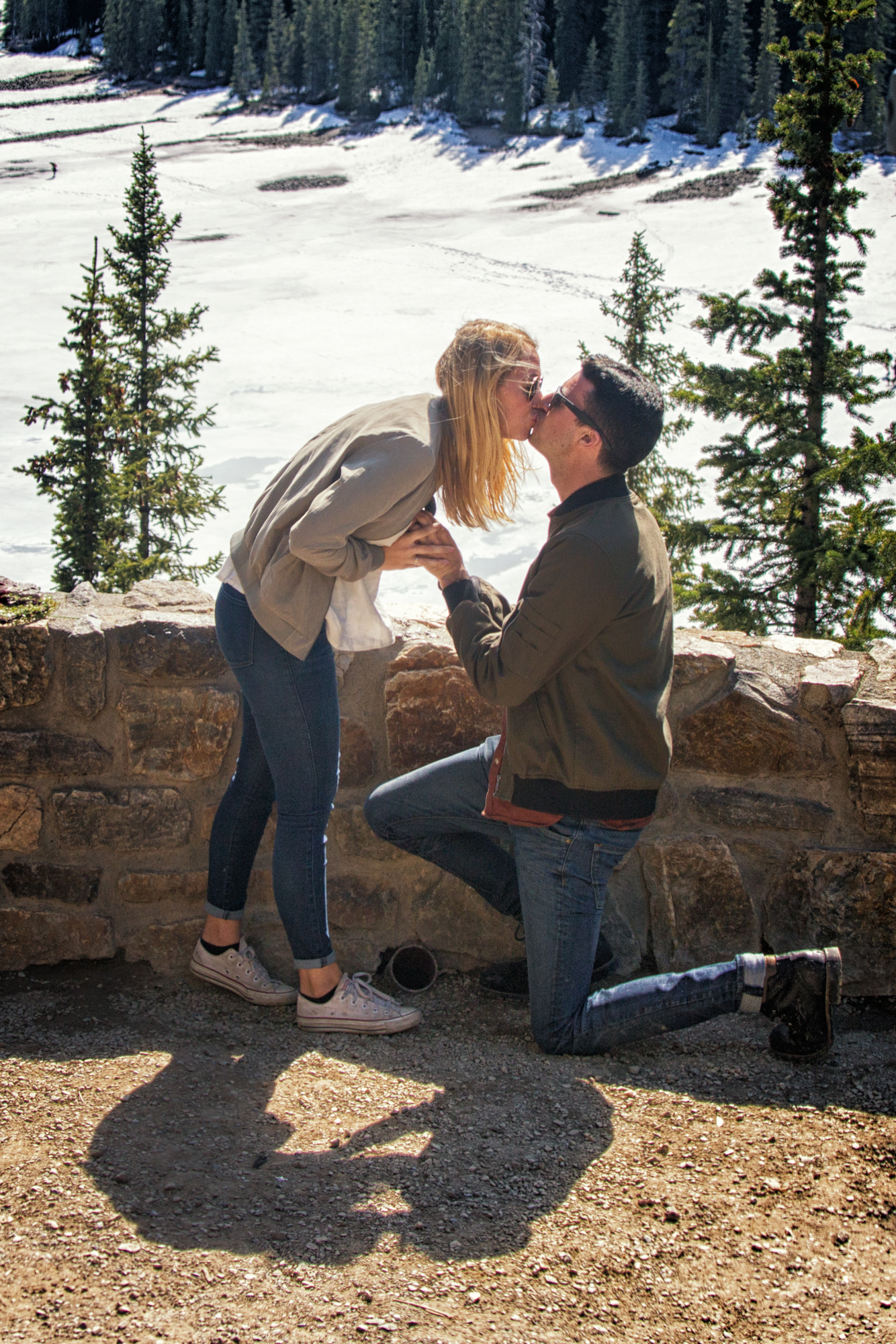 Moraine Lake wedding proposal by Banff wedding photographers, Burnett Photography.
