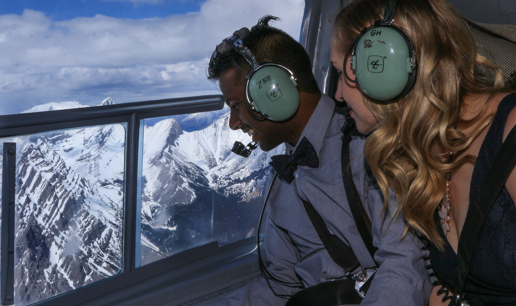 Helicopter proposal in the mountains, Banff wedding photographers, Burnett Photography
