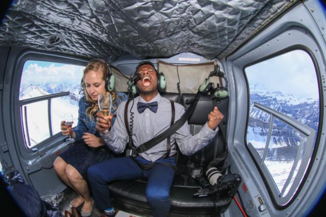 heli proposal, Mountaintop wedding proposal with banff wedding photographers, Burnett Photography and Rockies Heli Canada