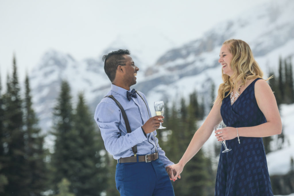 Marriage proposal in the mountains,Celebration, Banff wedding photographers, Burnett Photography