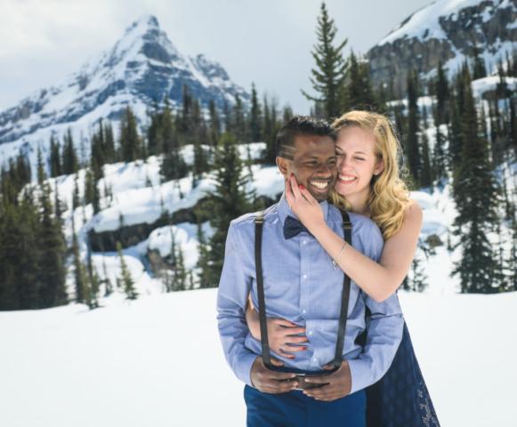 Mountain top wedding proposal, banff wedding photographers, Troy & Shirleen Burnett