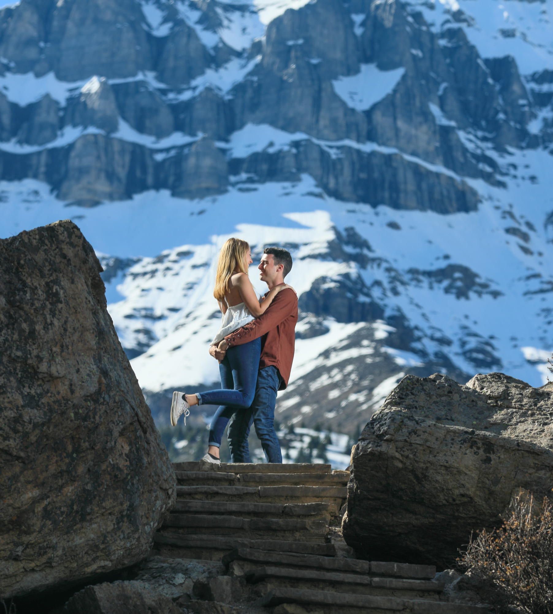 Moraine Lake engagement session with Banff photographers, Burnett Photography.