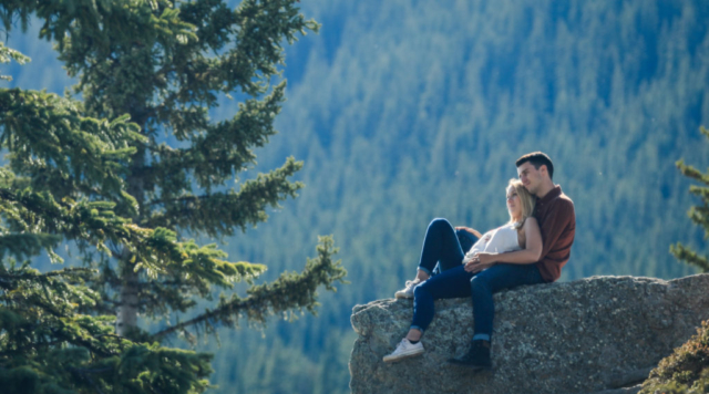 Moraine Lake engagement session with Banff photographers, Burnett Photography.