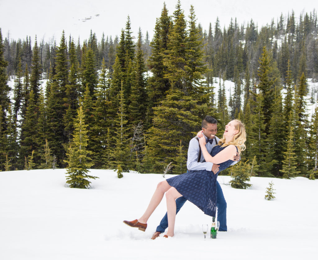 Mountain top wedding proposal, banff wedding photographers, Troy & Shirleen Burnett