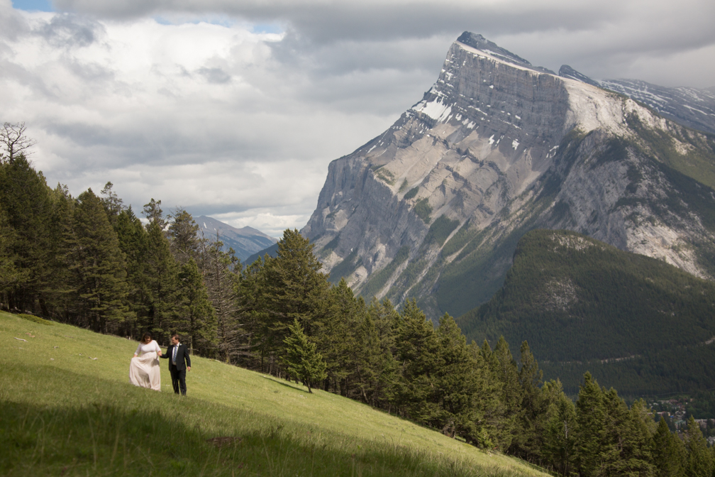 Wedding portraits at Mt. Norquay Meadow.