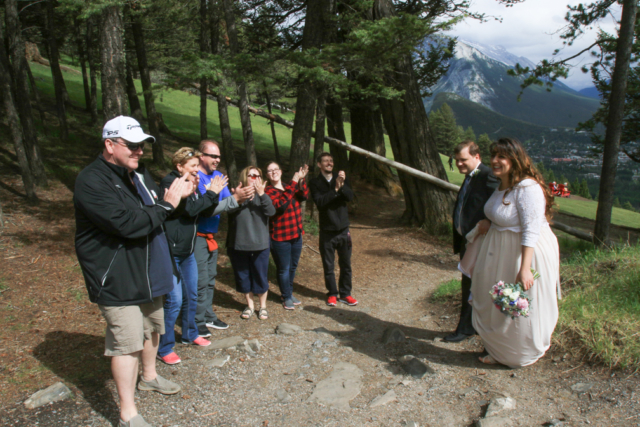 Fanfare for the bride & groom at Mt. Norquay Meadow.