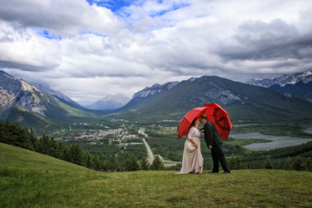 Just a little bit of rain makes for a lucky wedding day!