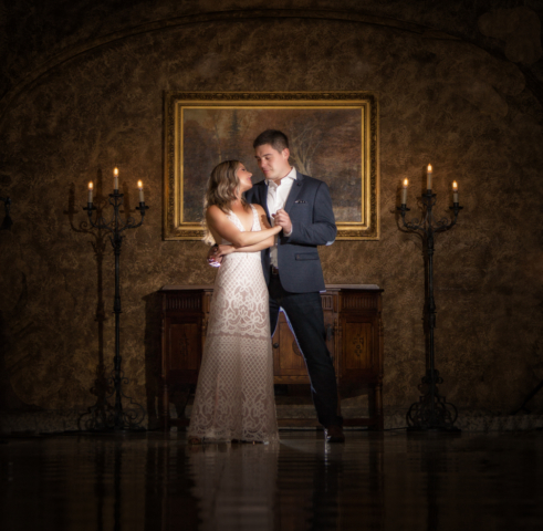Fairmont Banff Springs hallway, engagement pictures, Banff wedding photographers, Burnett Photography.