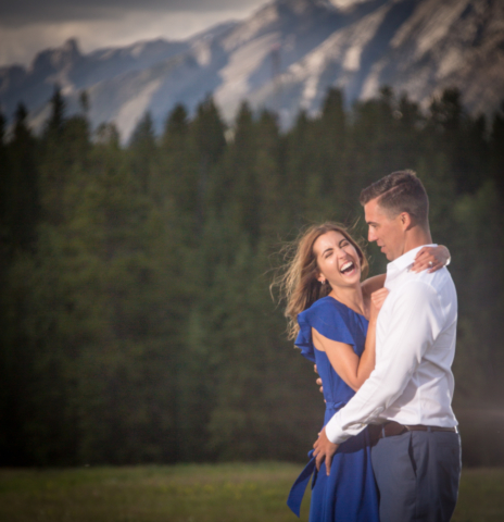 Engagement pictures at Canmore Dog park.