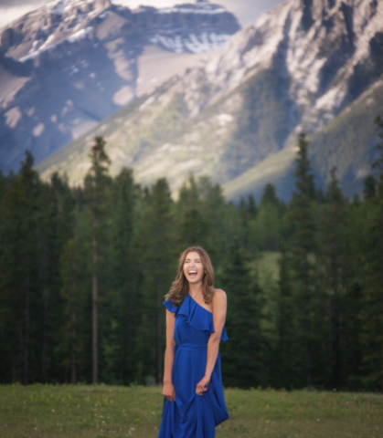 Paige was worth waiting for.  Her smile and laughter is contagious. Canmore Engagement pictures.