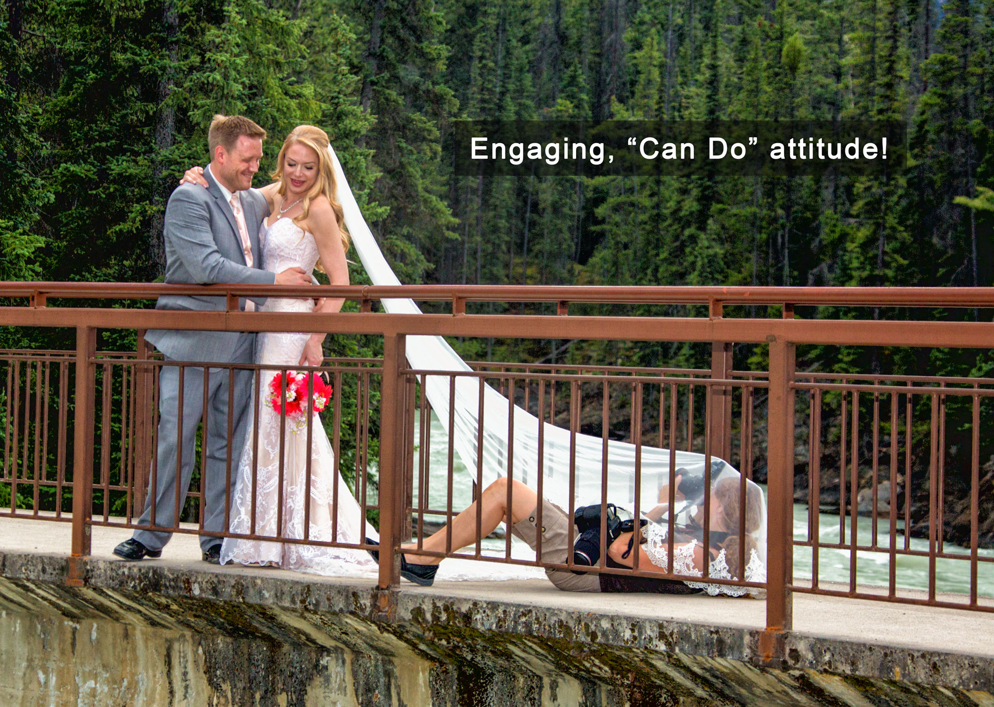 Banff wedding photographer, Shirleen Burnett, at Lake Louise, AB with bride & groom.