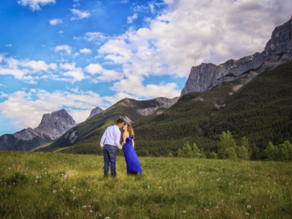 Engagement pictures at Quarry Lake in Canmore.