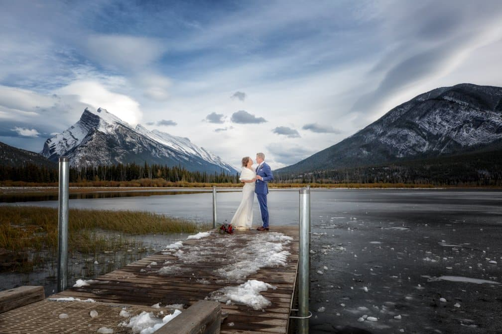 Wedding portrait at Vermillion Lake, Banff photographers, Burnett Photography.