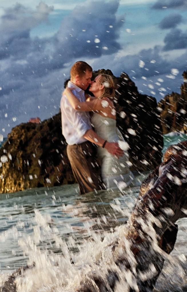 Sexy bride & groom in surf, Macao Beach, DR