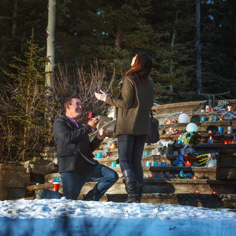 Proposal in Banff, Bankhead ruins, Banff National Park