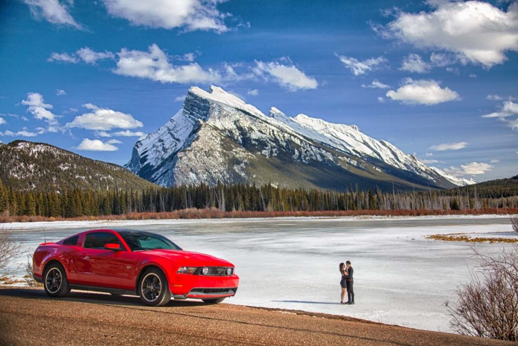 Engagement photos, Vermillian Lakes, Banff, Banff photographers, Burnett Photography