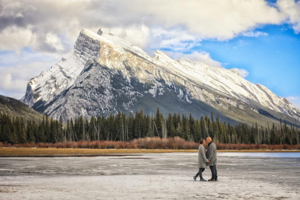 Engagement portraits, Vermillion Lakes, Banff photographer, Burnett Photography