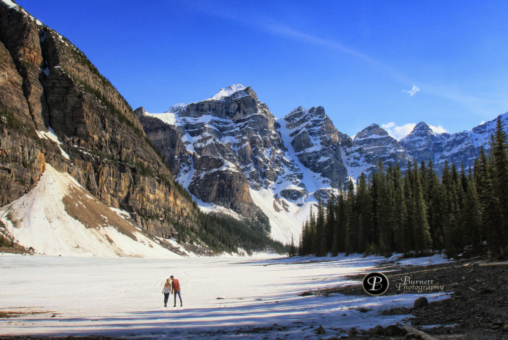 Engagement pictures, Moraine Lake, Lake Louise, Banff wedding photographers, Burnett Photography