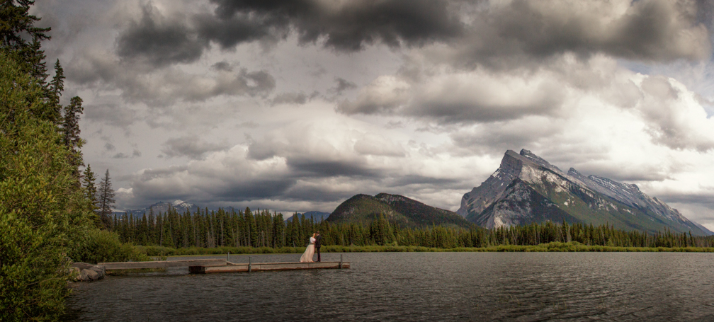 Vermillion Lakes over cloudy skies.