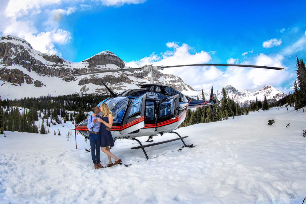 Helicopter wedding proposal, Banff wedding photographers, Burnett Photography