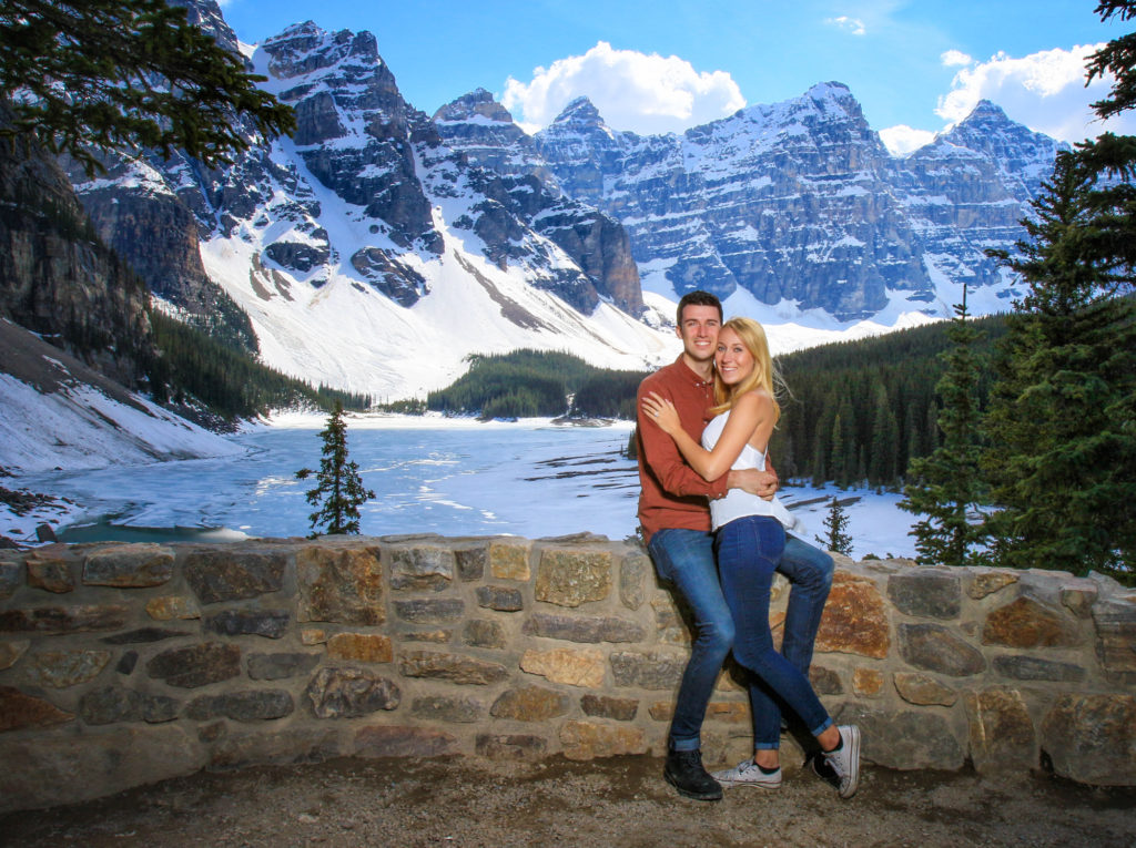 Moraine Lake engagement session with Banff photographers, Burnett Photography.Moraine Lake engagement session with Banff photographers, Burnett Photography.