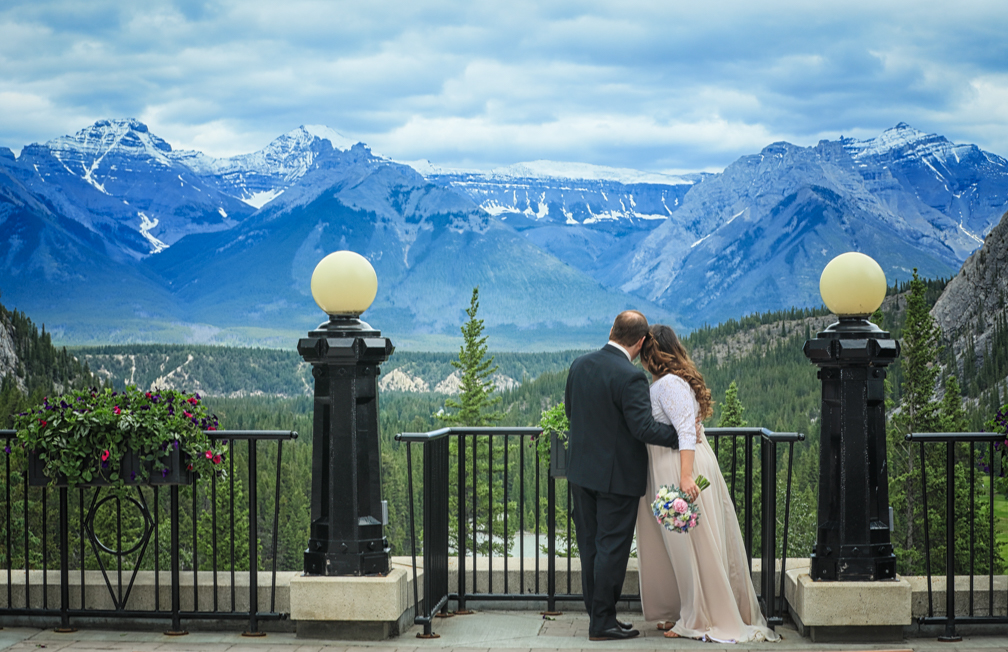 Before the ceremony at the Fairmont Banff Springs Terrace.