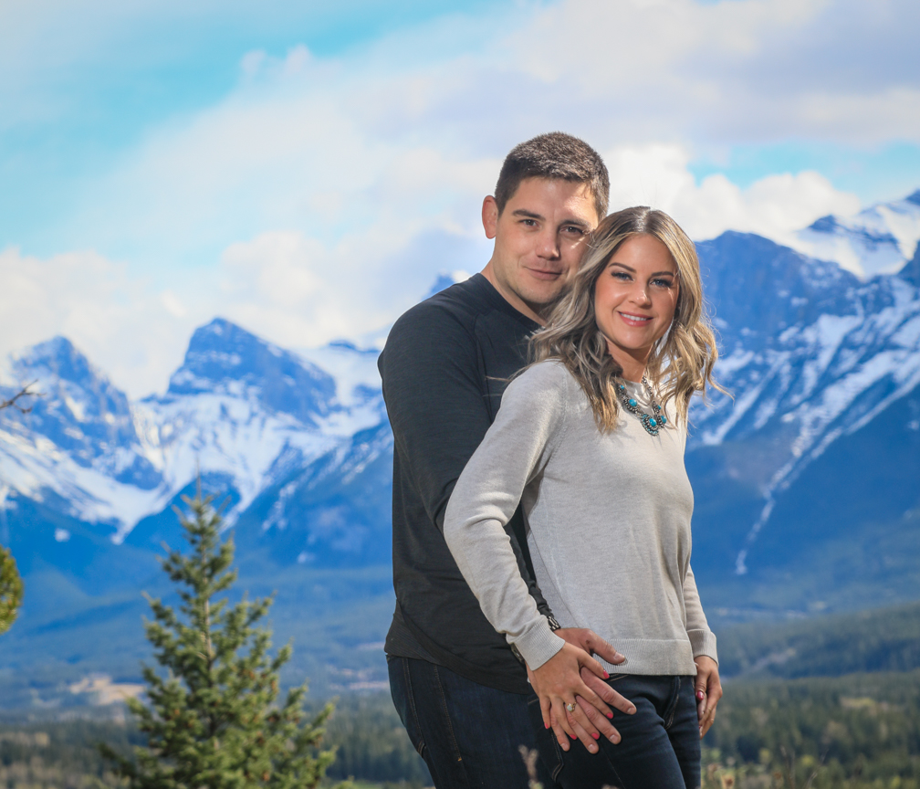 Three Sister Mountain range, Engagement pictures, Canmore wedding photographers, Burnett Photography.