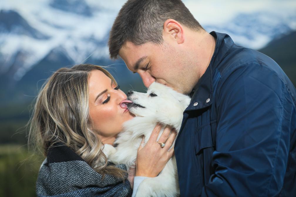 Newly engaged couple & puppy,  Canmore, Banff wedding photographers, Burnett Photography