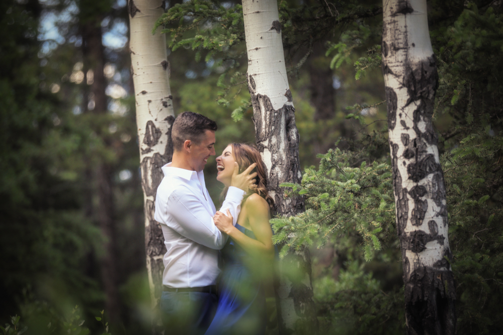 The aspen trees at the Canmore dog park make for a great woodsy location for engagement portraits.