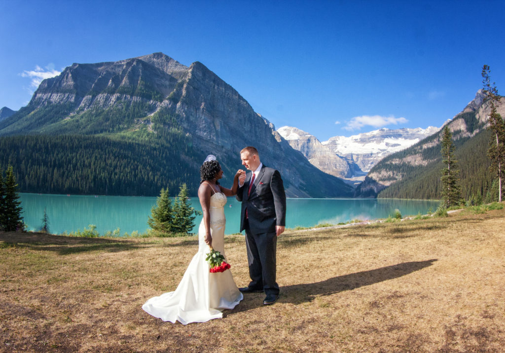 Elopement by the shores of Lake Louise.