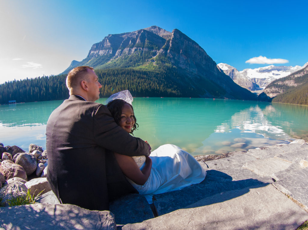 Fairmont Lake Louise elopement by the shore of Lake Louise.