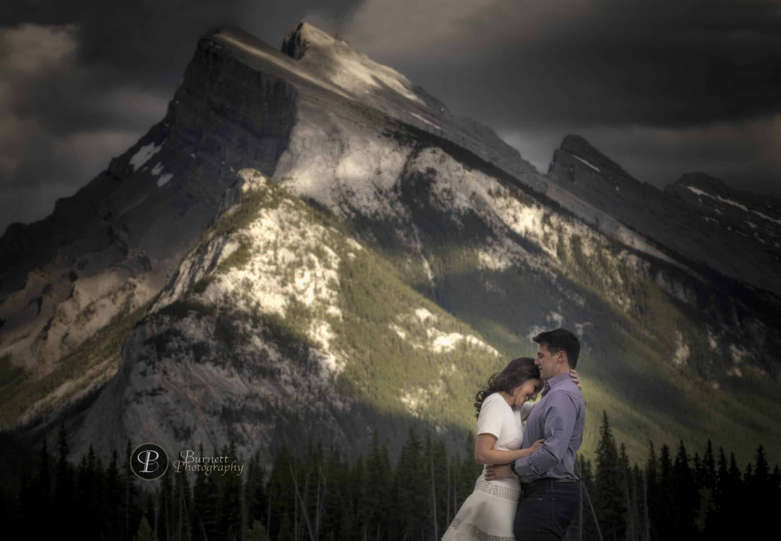 Perfect proposal in the Banff National Park. Highlights by Banff wedding photographers, Burnett Photography.